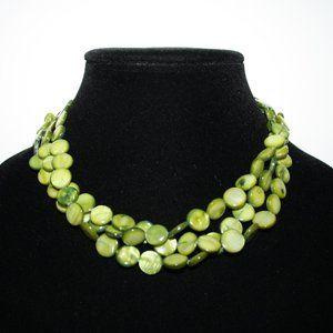"Beautiful multistrand green shell necklace 16-19"""